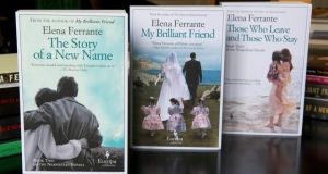 "English-language editions of Elena Ferante's ""Neapolitan Novels"". Photograph: Chris Warde-Jones/The New York Times"