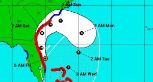 The projected track of Hurricane Matthew along the east coast of the US according to the National Hurricane Center.