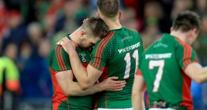 Brothers Séamus and Aidan O'Shea of Mayo show their dejection following Mayo's agonising one-point defeat to Dublin  at Croke Park. Photograph: Donall Farmer/Inpho