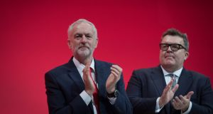 Labour leader  Jeremy Corbyn and Tom Watson at the recent party conference. Photograph: Stefan Rousseau/PA Wire
