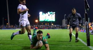 Cian Kelleher scores Connacht's fourth try during the Guinness Pro 12 derby encounter with Ulster at the Sportsground. Photograph: James Crombie/Inpho