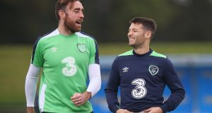 Wes Hoolahan (right) is in line for a starting spot as the Republic of Ireland   play Moldova in Chisinau on Sunday. Photograph:  Brian Lawless/PA Wire