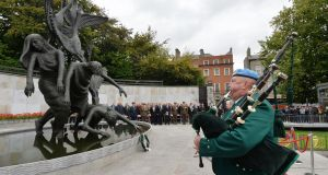 Members of the Association of Retired Commissioned Officers (ARCO) conducting a Wreath Laying Ceremony in the Garden of Remembrance to remember and commemorate the participants in the 1916 Easter Rising. At the ceremony were members of the 39th Cadet Class and 40th Cadet Class who marched in the Easter Parade on  April 10th 1966. Photograph: Alan Betson / The Irish Times