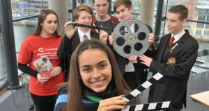 To mark World Mental Health Day, George Best Belfast City Airport has hosted a Mental Health Awareness Showcase in partnership with Cinemagic, to premiere short films created by pupils from across Belfast focusing on the issues of mental health and wellbeing. Pictured are students Bea Santos, (front), with,  Chloe Hall, Niamh Mallaghan, Jack Dunlop, Lewis Doherty, Lewis Robinson. Photograph: Alan Lewis