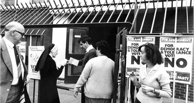 Polling in the 1983 referendum. Garrett Fitzgerald sought to leave abortion law subject to legislation in the Dáil and outside the scope of the Constitution: Pat Langan / The Irish Times