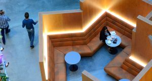 Meeting areas in the inner atrium at Facebook's Dublin HQ. Photograph: Cyril Byrne