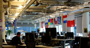 What the office space looks like at Facebook's Dublin HQ. Photograph: Cyril Byrne