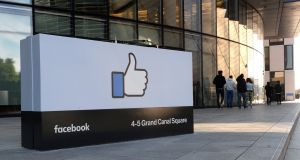 Outside Facebook's HQ at 4-5 Grand Canal Square. Photograph: Cyril Byrne