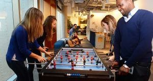 Facebook staff playing table football. Photograph: Cyril Byrne