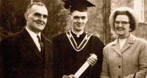 Denis Bergin on graduation day in 1966 with his parents Richard and Mary.