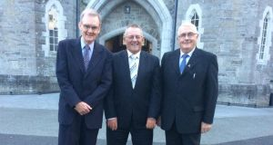 John Costigan, Tony Barrett and Denis Bergin at the 50th anniversary of their graduation from Maynooth seminary.