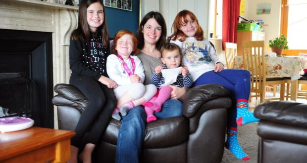Maria Moulton and her daughters Lily, Maggie, Alice and Anna, at their home in Athlone, Co Westmeath. 'The bulk of my friends would be working mothers. None of us is fighting about who has got it harder,' says Maria. Photograph: James Flynn/APX