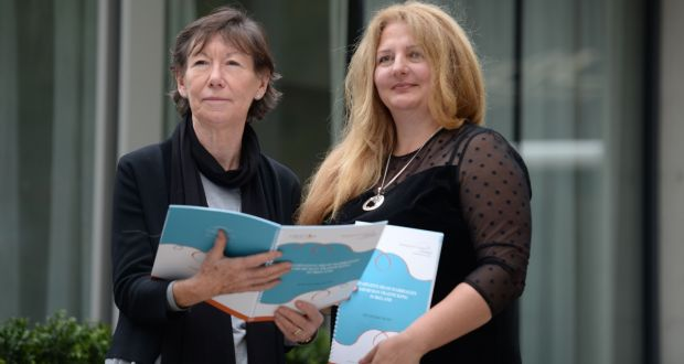 Dr Monica O'Connor, left, and Nusha Yonkova, anti-trafficking manager with the Immigrant Council of Ireland (ICI) at the launch of the ICI's first ever research report on exploitative sham marriages in Europe, at the Mansion House, Dublin on Monday. Photograph: Dara MacDónaill