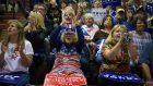 Supporters cheer during a rally for Donald Trump in  Ambridge, Pennsylvania, on Monday.  Photograph: Jeff Swensen/Getty Images
