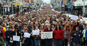 Tens of thousands of people walk along Sydney Road in Brunswick, Melbourne, in a peace march to commemorate murdered Irish woman, Jill Meagher, on September 30th, 2012, in Melbourne, Australia. Photograph: Justin McManus, Fairfax Media/ Getty Images