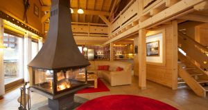 The chalet's spectacular open-plan living area.