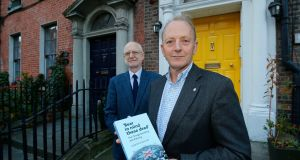 Desmond Rea and Sir Hugh Orde at the launch in Dublin of their book Bear in Mind these Dead.  Photograph: Nick Bradshaw