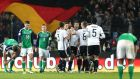 Germany celebrate Julian Draxler's first half goal in their qualifying win over Northern Ireland. Photograph: Inpho/William Cherry