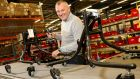 Business man James Leckey in the workshop of his factory in Lisburn which makes medical equipment and aids for  disabled children. Photograph: Stephen Davison/Pacemaker Press