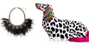 "Harper feather necklace,  €185, from Stella and Dot: ""more than an accessory, it's an outfit changer"". Right, the most expensive dog on the planet? Jewelled and tasselled ""minaudiere"" bag, by Judith Leiber for Libertine, costs in excess of   $4,000 (€3,627)  and can be purchased worldwide from bergdorfgoodman.com"