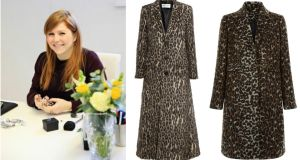 Jeweller Natasha Sherling. Leopard print knitted coat, $4,690, from Saint Laurent or coat for €64.99 from New Look.