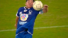 Still got it: Maradona assists two, handles one during peace match