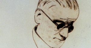 "A detail from Michael Farrell's portrait of James Joyce, who   summed up the  two  contradictory images of Irishness co-existing at the same time: ""Oh Ireland my first and only love/Where Christ and Caesar are hand in glove"""