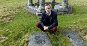 Paul Howard at the grave of Tara Browne, at Lugalla, Co Wicklow. Photograph: Eric Luke / The Irish Times