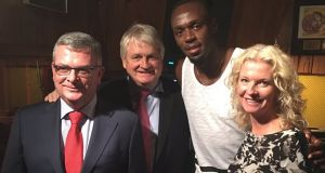 On Wednesday night, Usain Bolt tweeted a picture of himself with Digicel founder Denis O'Brien, Digicel group chief executive Colm Delves, and Digicel's regional Caribbean chief Vanessa Slowey. 'Just chilling with the big boss himself,' tweeted Bolt.