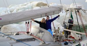 Barbara Fitzpatrick, the first Irish woman to sail through both the Northeast and Northwest passages, with  Contance Difede on the 'Northabout'. Photograph: Polar Ocean Challenge