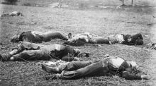 Dead soldiers at the Battle of Gettysburg, Pennsylvania. The men of the Irish 69th Pennsylvanians stopped the Confederate advance. Photograph: Timothy H O'Sullivan/Getty Images