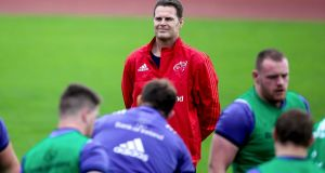 Munster coach Rassie Erasmus oversees training at UL. Photograph: Tommy Dickson/Inpho