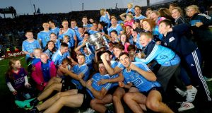 Dublin celebrate after beating Mayo to win the All-Ireland Senior Football Championship for 2016. Photo: Inpho