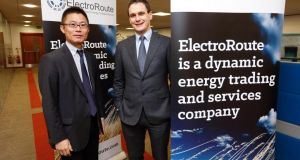 Atsushi Suzuki, head of new energy and power generation division at Mitsubishi with ElectroRoute  chief executive Ronan Doherty at the announcement of Mitsubishi taking a majority stake in the company.