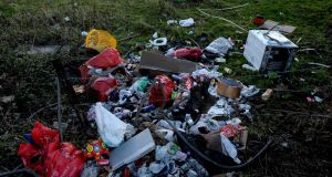 Household waste dumped near Tully Cross in Cabinteely, Co Dublin. Photograph: Cyril Byrne/The Irish Times