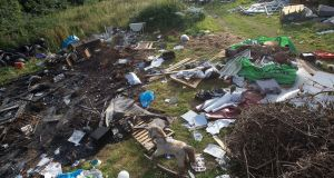 Rubbish dumped at a site in Charlesland near Greystones, Co Wicklow contained household refuse, furniture, tyres and other assorted waste. Photograph: Dave Meehan/The Irish Times