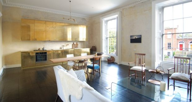 Brass Fronted Kitchen Units In A One Bedroom Apartment Georgian House On
