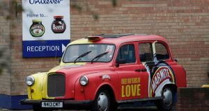 A branded taxi outside Unilever's Marmite factory in Burton upon Trent in Britain. Photograph: Reuters