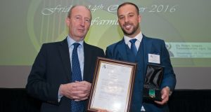 Davitt Walsh receiving the Michael Heffernan gold medal for bravery from the Minister for Transport Shane Ross at the National Marine Gallantry and Meritorious Service Awards, which took place at Farmleigh, Dublin. Photograph: Dave Meehan/The Irish Times