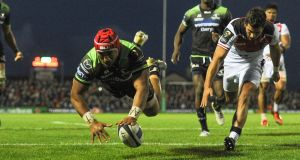 Connacht's Bundee Aki touches down for the game-winning try in the Champions Cup match against Toulouse at The Sportsground in Galway. Photograph: Tommy Grealy/Inpho