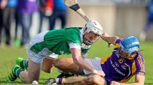 Kilmacud's Ross O'Carroll battles with Ger O'Meara of O'Tooles during Kilmacud's Dublin senior hurling championship semi-final win. Photograph: Inpho