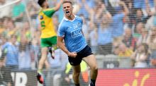 Paul Mannion celebrates scoring the goal which sealed Dublin's quarter-final win over Donegal. Photograph: Ryan Byrne/Inpho