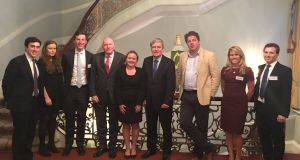 Members of the London Irish Graduate Network with Ambassador Dan Mulhall and Irish Times London Editor Denis Staunton at a Brexit discussion at the Irish Embassy.