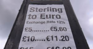 Forecasters believe the 20 per cent drop in sterling since the Brexit vote will push inflation sharply higher in the coming months. Photograph: Clodagh Kilcoyne/Reuters