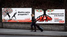 Electoral posters against and in favour  of the immigration referendum. Now the Swiss are in the unenviable position of providing a test case for Brexit negotiations. Photograph:  Fabrice Coffrini/AFP/Getty Images