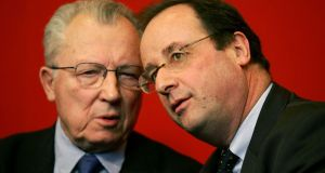 "France's socialist leaders Jacques Delors and Francois Hollande. Europe needs more growth: ""Delors 2"" proposes ways in which public and private investment can be boosted. Photograph: Reuters/Charles Platiau"