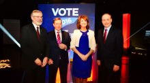 Gerry Adams, Taoiseach Enda Kenny,  Joan Burton and Micheál Martin at the TV3/Newstalk television debate: subjective newspaper articles on Mr Adams's performance were passed off as hard news. Photograph: Cyril Byrne