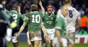 Anthony Foley celebrates at the final whistle in 2004. Photograph: Billy Stickland/Inpho