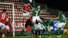 Cork City's Alan Bennett scores during his side's defeat to St Patrick's Athletic on Monday night in front of just 369 supporters at Richmond Park. Photograph: Inpho