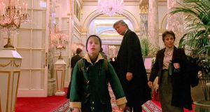 Donald Tump in the 1992 film Home Alone 2: Lost in New York with Macaulay Culkin.